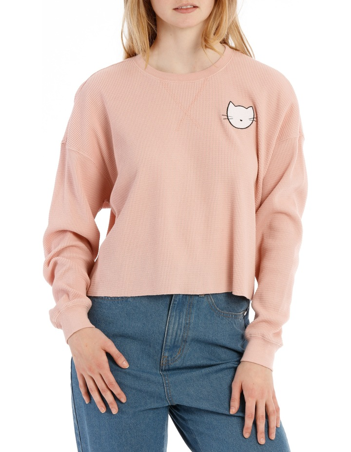 Waffle Cropped Sweat Top - Meow image 1
