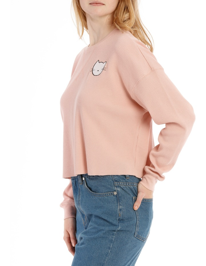 Waffle Cropped Sweat Top - Meow image 2