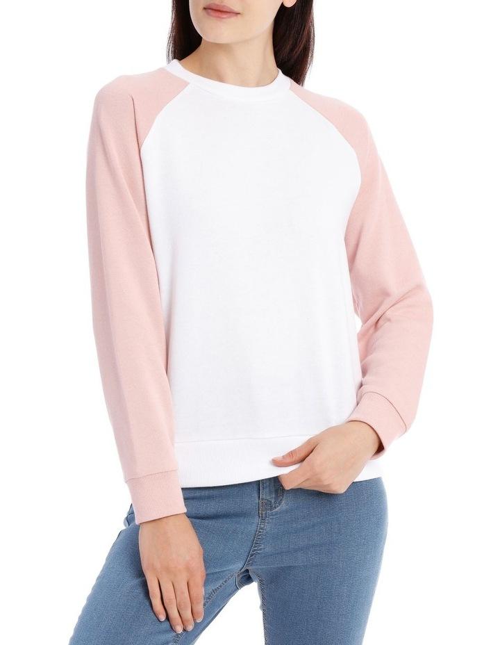 Raglan Colour Block Sweat Top - White/Dusty Pink Raglan image 1