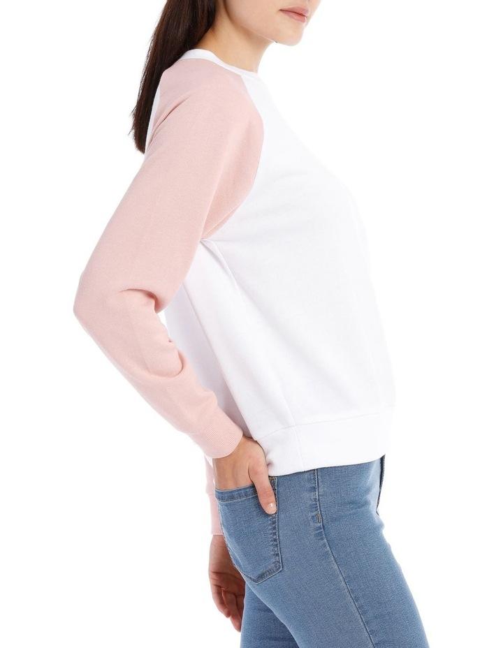 Raglan Colour Block Sweat Top - White/Dusty Pink Raglan image 2