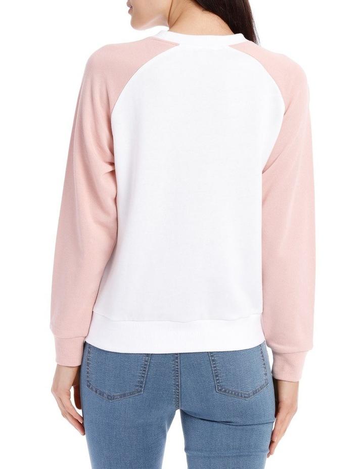 Raglan Colour Block Sweat Top - White/Dusty Pink Raglan image 3
