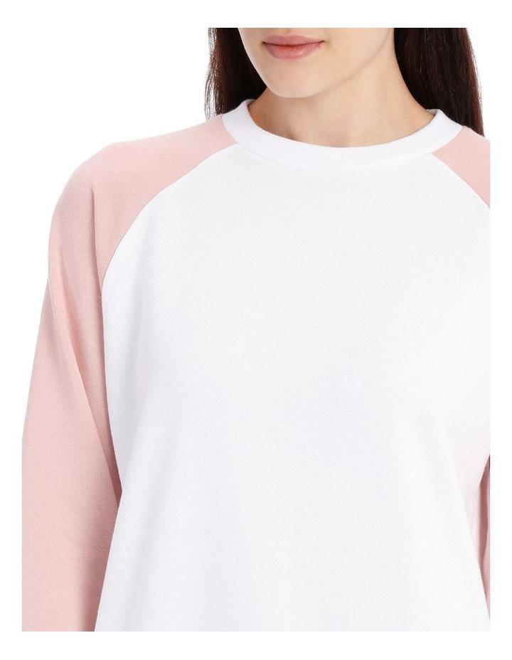 Raglan Colour Block Sweat Top - White/Dusty Pink Raglan image 4