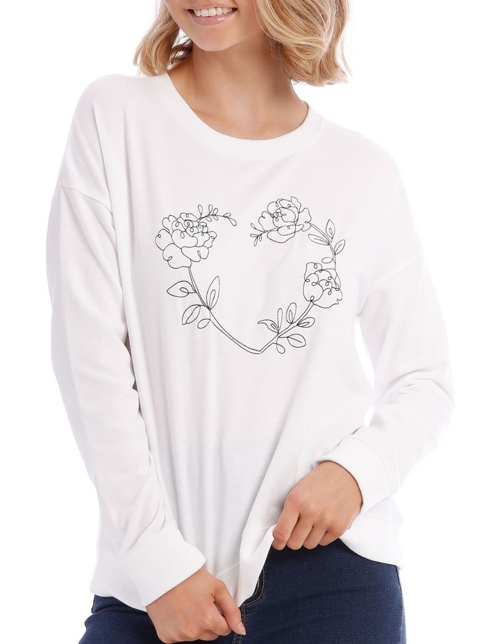 Botanical Print Relaxed Sweat Top image 4