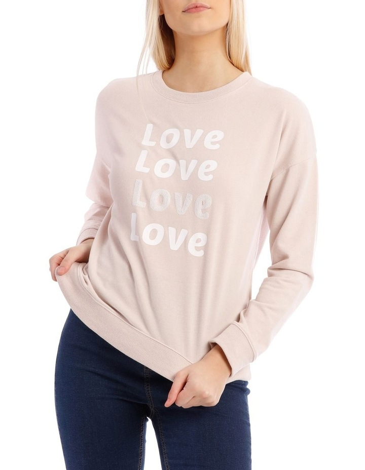 Love Sequin Font Relaxed Sweat Top image 1