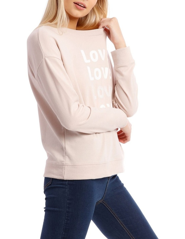 Love Sequin Font Relaxed Sweat Top image 2