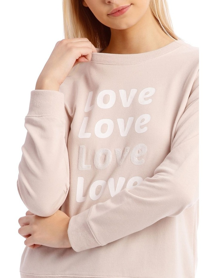 Love Sequin Font Relaxed Sweat Top image 4