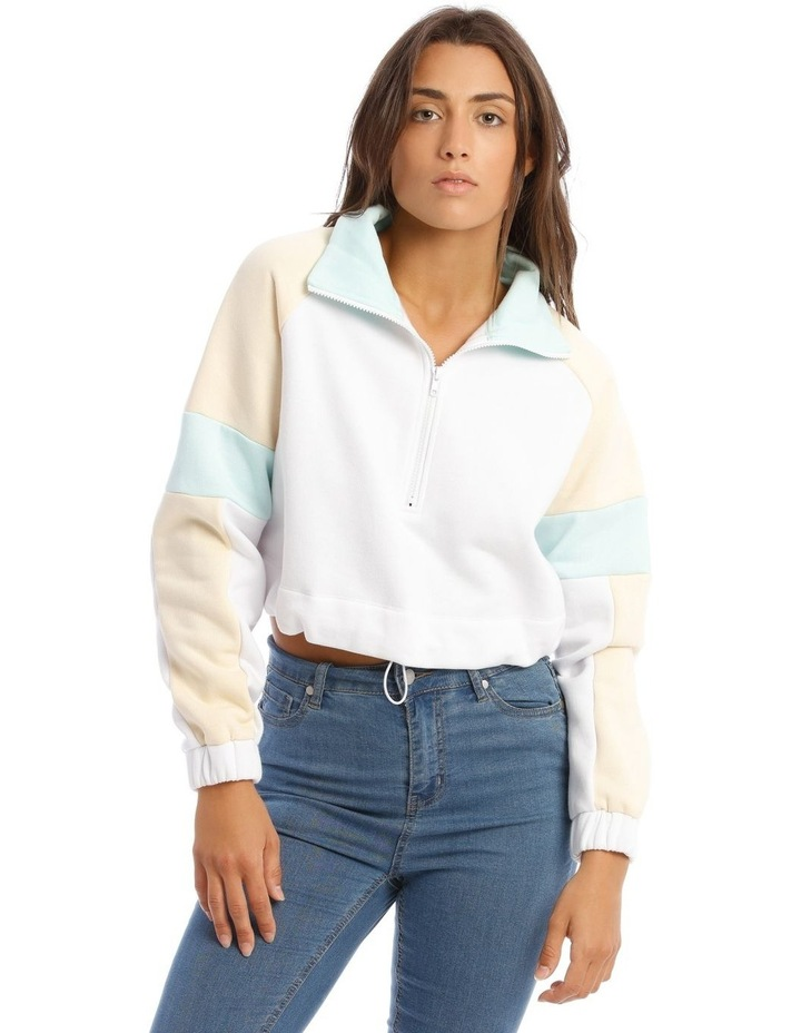 Cropped Sweat Top in White with Drawstring Waist image 1