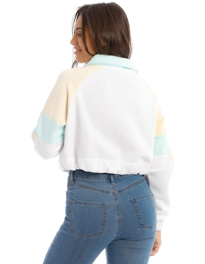 Cropped Sweat Top in White with Drawstring Waist image 3