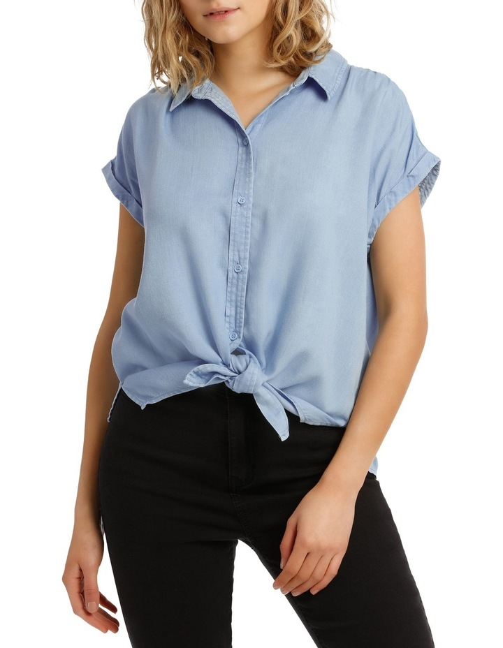 Chambray Tie Front Short Sleeve Shirt image 1
