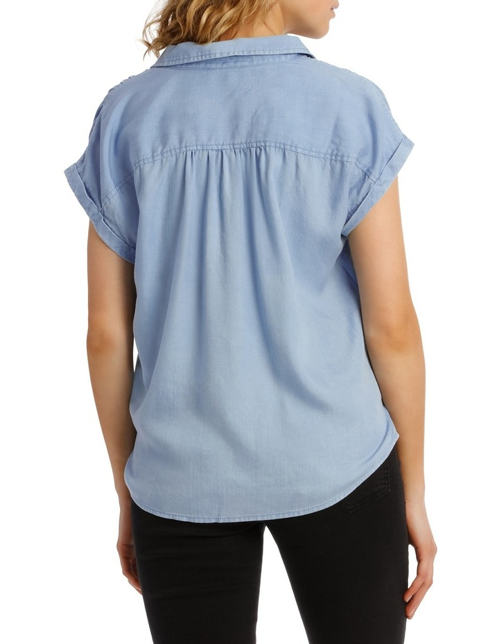 Chambray Tie Front Short Sleeve Shirt image 3