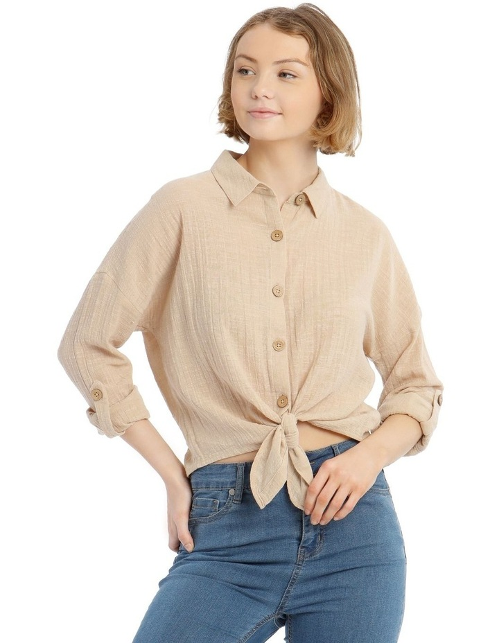 Tie Front Long-Sleeve Textured Shirt image 1