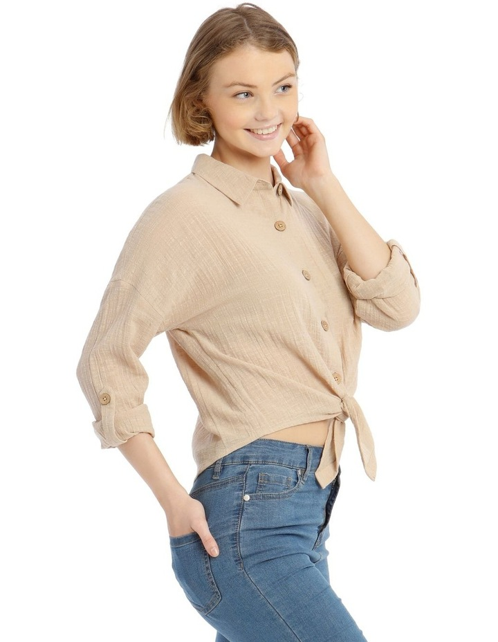 Tie Front Long-Sleeve Textured Shirt image 2