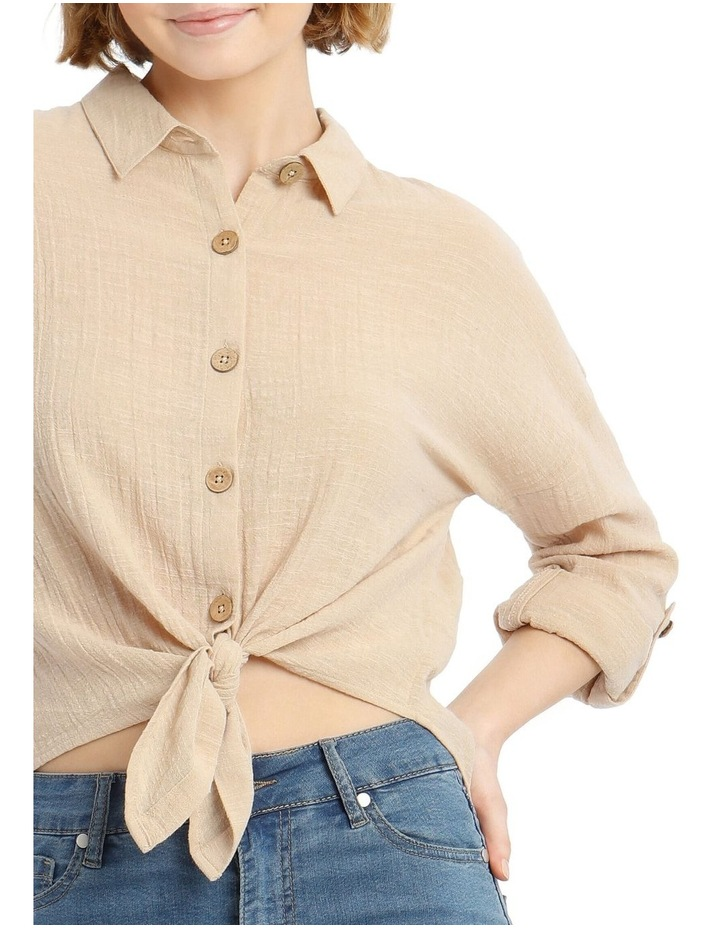 Tie Front Long-Sleeve Textured Shirt image 5