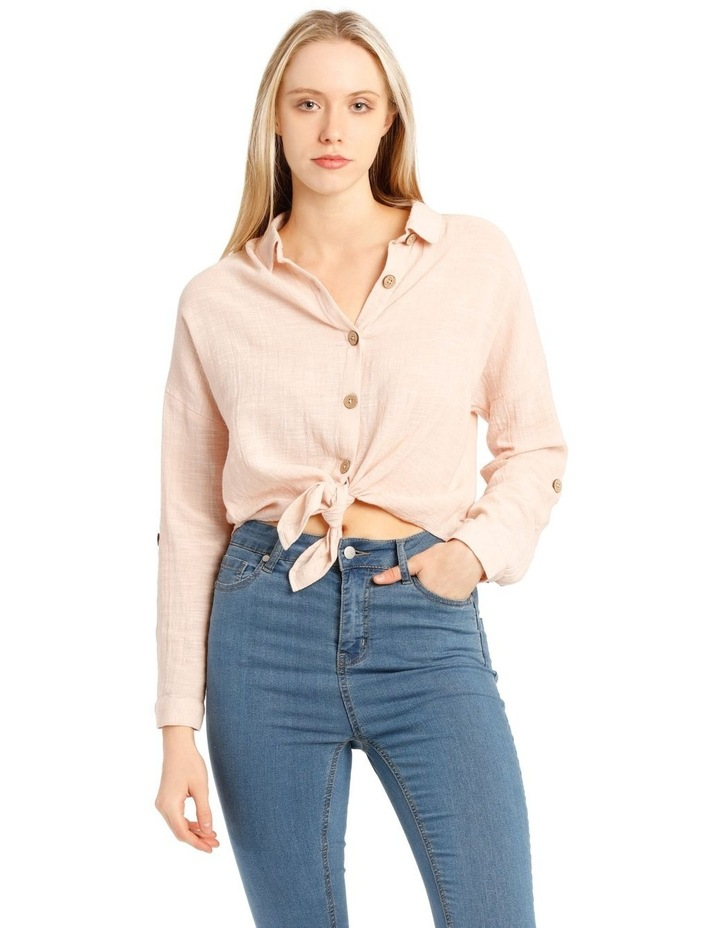 Tie Front Long Sleeve Textured Shirt image 1