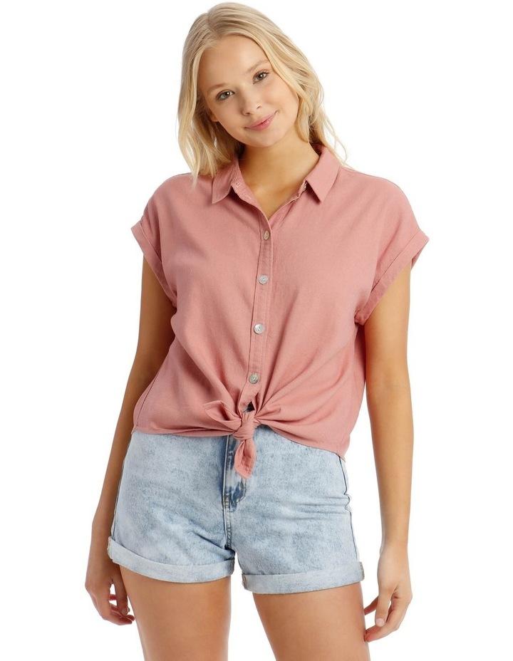 Linen Blend Tie Front Shirt image 1