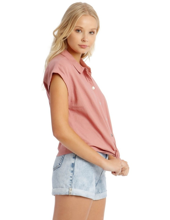 Linen Blend Tie Front Shirt image 2