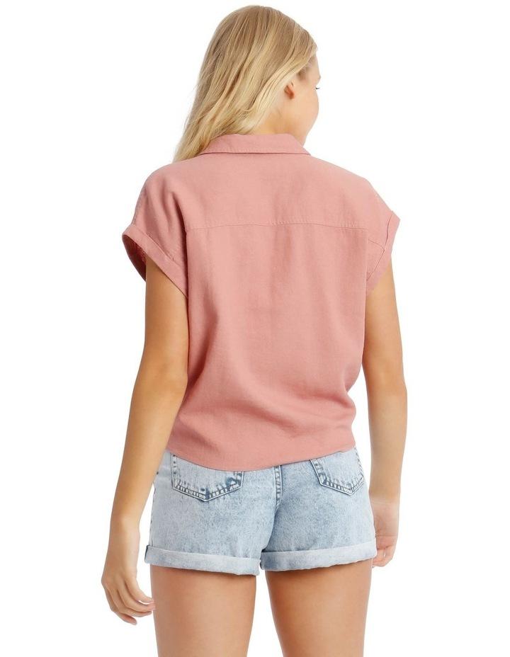 Linen Blend Tie Front Shirt image 3