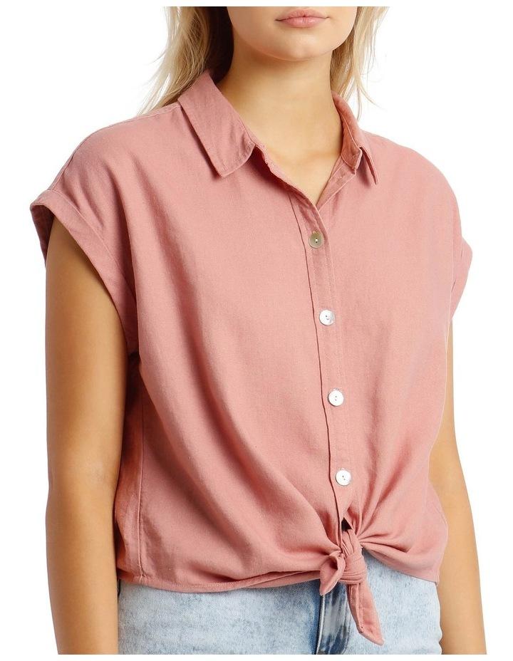 Linen Blend Tie Front Shirt image 4
