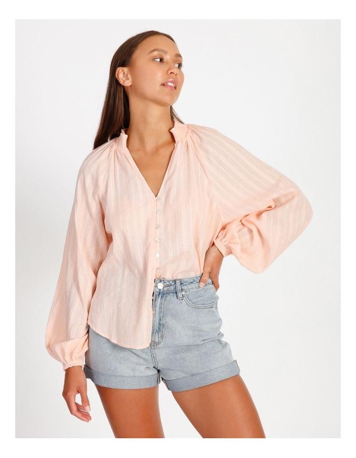 Textured Shirred Collar Shirt image 3