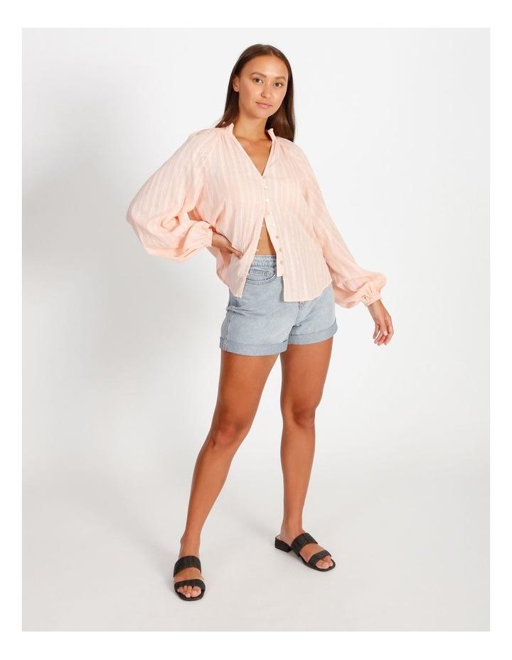 Textured Shirred Collar Shirt image 4