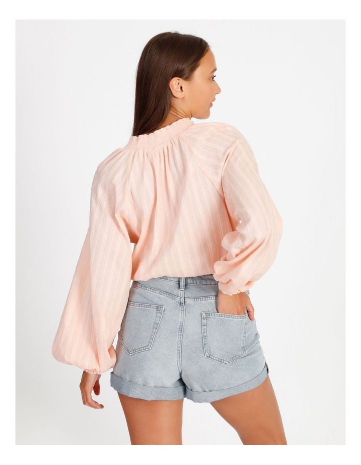 Textured Shirred Collar Shirt image 5
