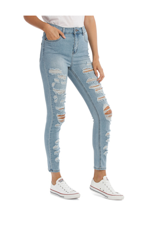 Miss Shop - Light Blue Riley Super High Waisted Skinny Jean