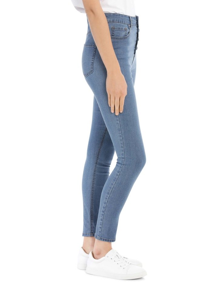 Riley High Waisted Skinny Jean Button Front image 2