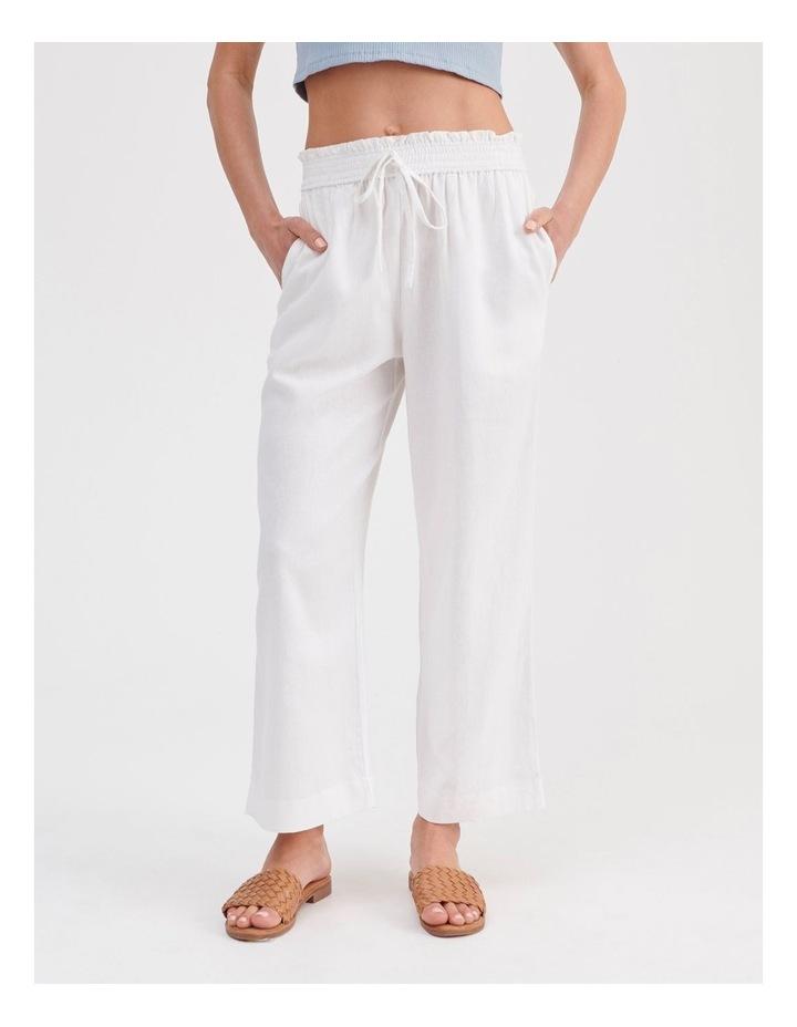 Paper-bag Linen Blend Pant in White image 1