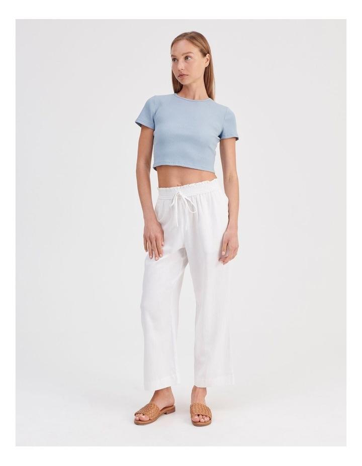Paper-bag Linen Blend Pant in White image 2