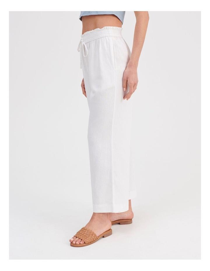 Paper-bag Linen Blend Pant in White image 3