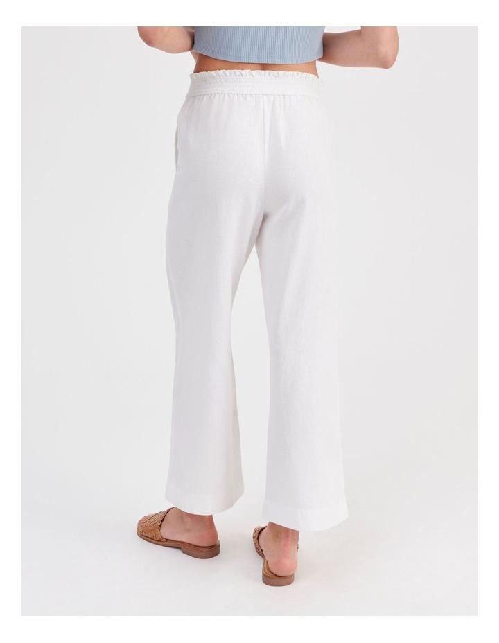Paper-bag Linen Blend Pant in White image 4