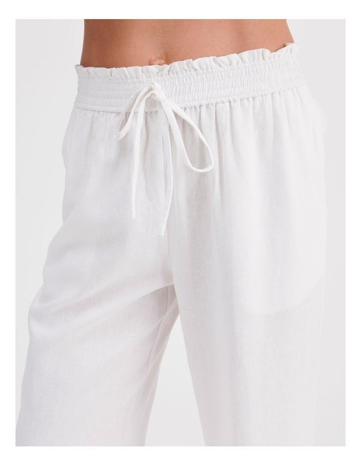 Paper-bag Linen Blend Pant in White image 5