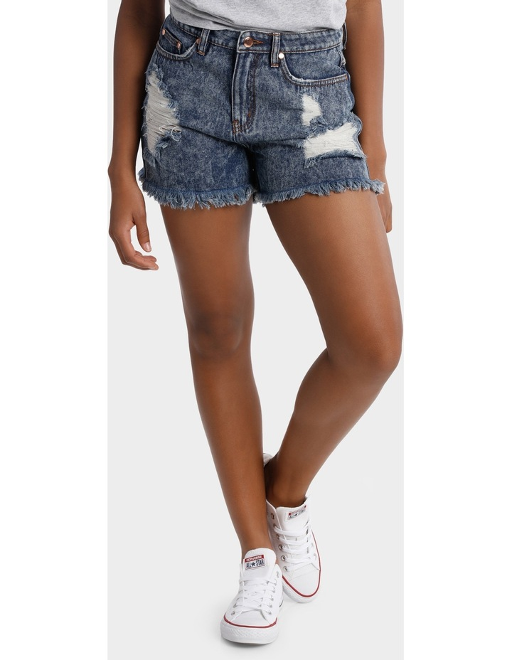 DARK WASH HIGH WAIST RIPPED UP DENIM SHORT image 1