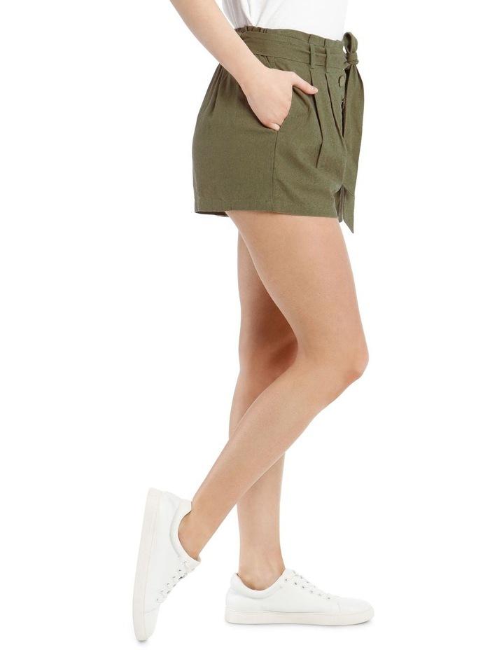 Paperbag Coconut Button Linen Blend Shorts image 2