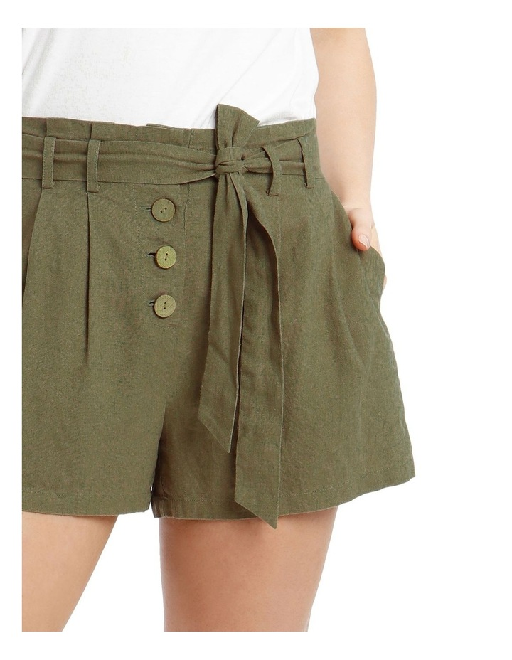Paperbag Coconut Button Linen Blend Shorts image 4