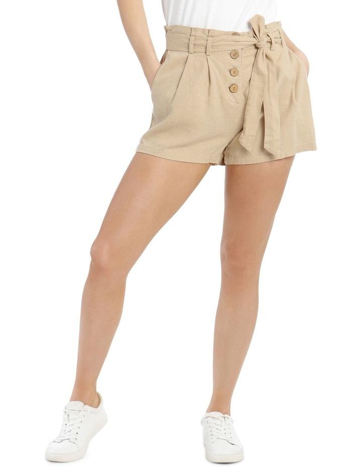 Paperbag Coconut Button Linen Blend Shorts image 1