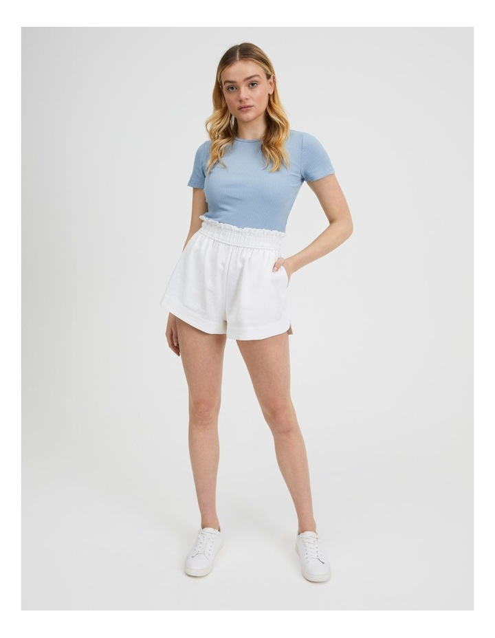 Paper-bag Linen Blend Shorts in White image 1