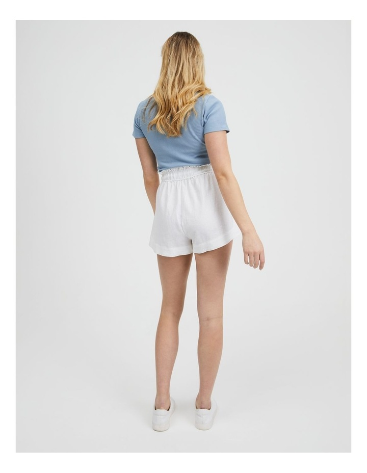 Paper-bag Linen Blend Shorts in White image 3