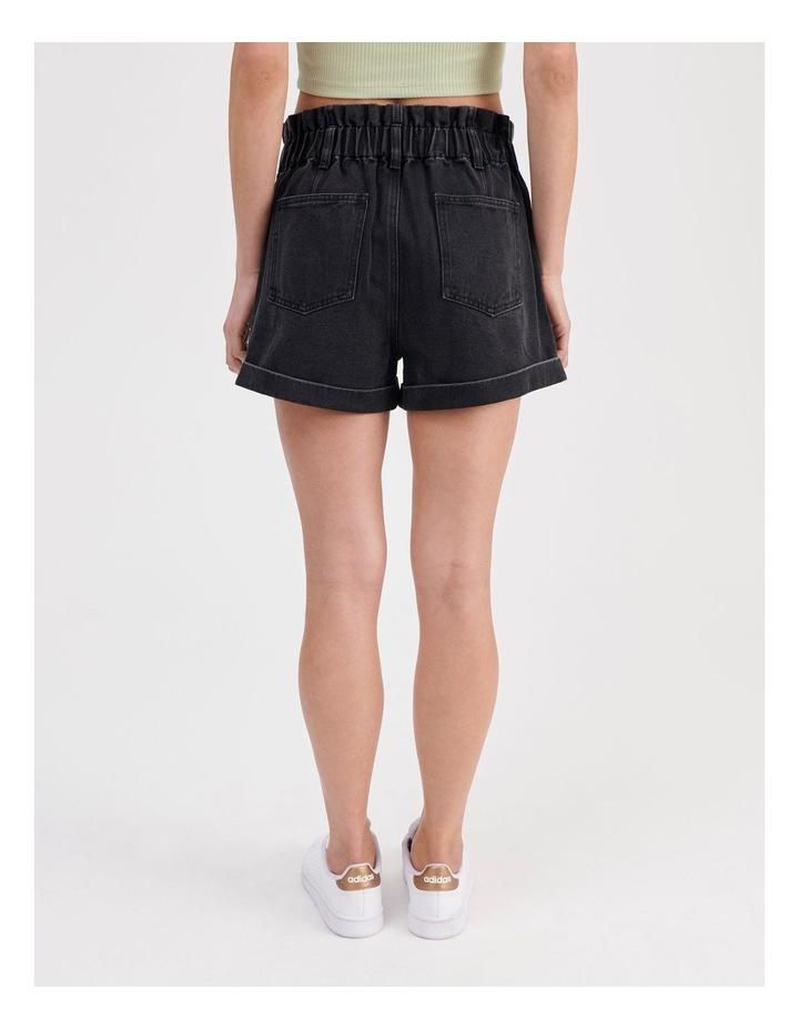 Paper-bag Denim Shorts in Black image 4