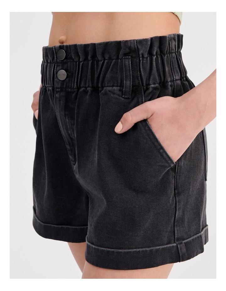 Paper-bag Denim Shorts in Black image 5