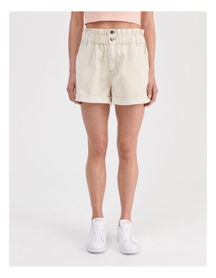 Paperbag Denim Shorts in Ecru image 1