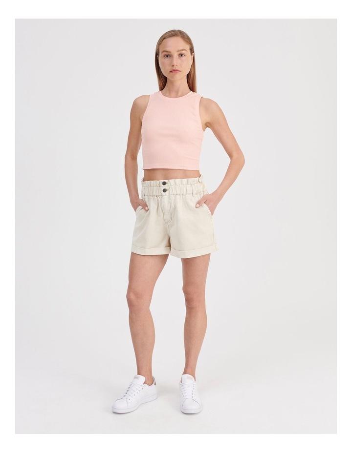 Paperbag Denim Shorts in Ecru image 2