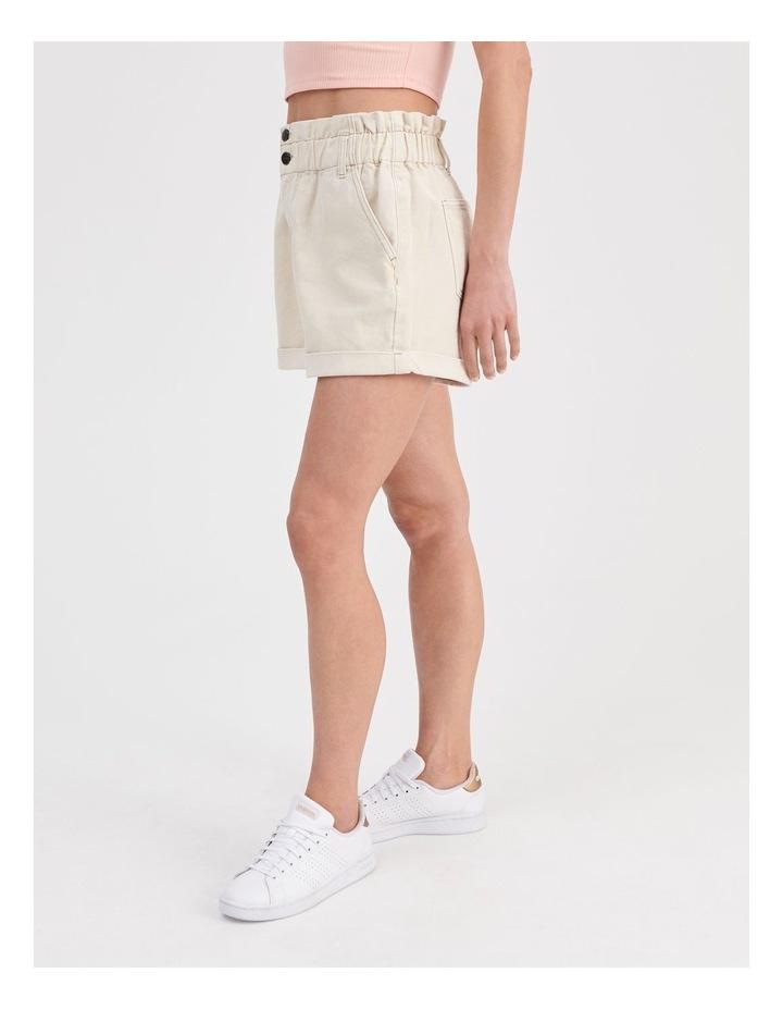 Paperbag Denim Shorts in Ecru image 3