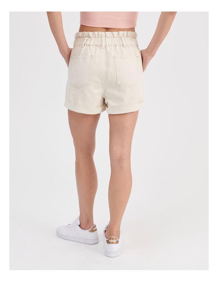 Paperbag Denim Shorts in Ecru image 4