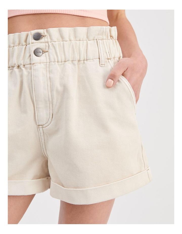 Paperbag Denim Shorts in Ecru image 5