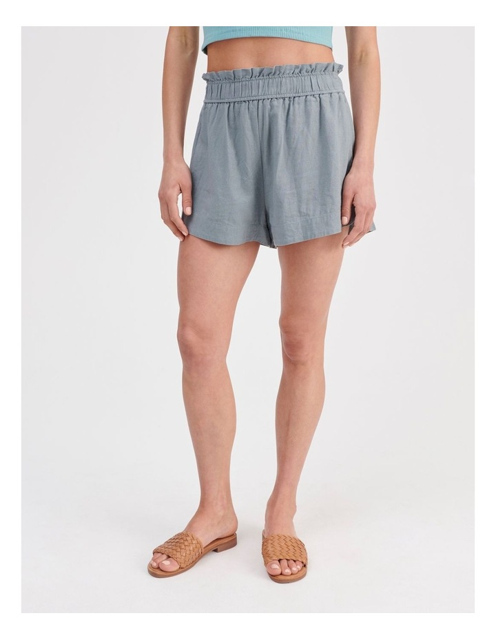 Paper-bag Linen Blend Shorts in Teal image 1