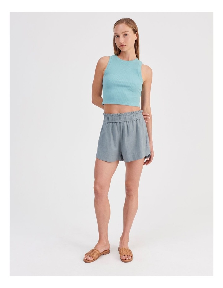 Paper-bag Linen Blend Shorts in Teal image 2