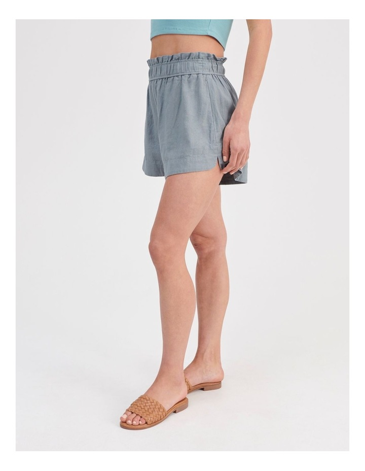 Paper-bag Linen Blend Shorts in Teal image 3