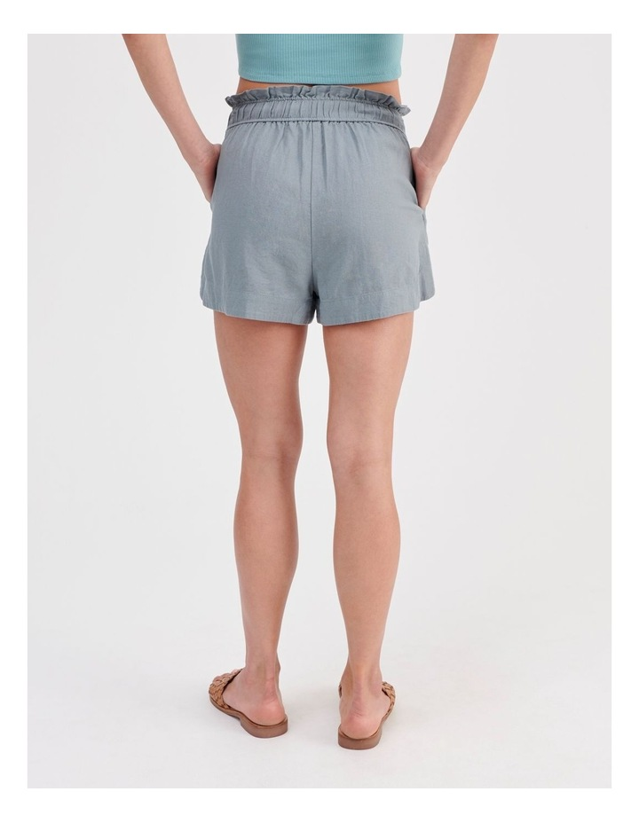 Paper-bag Linen Blend Shorts in Teal image 4