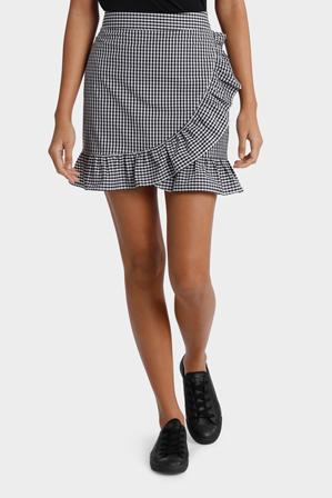 Miss Shop - Gingham Ruffle Skirt
